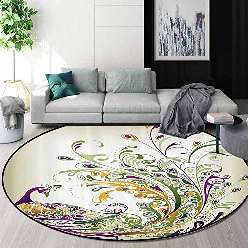 Read About Abstract Home Decor Collection Round Area Rugs Bedroom,Peacock Bird Tail Feather Plume Pa...