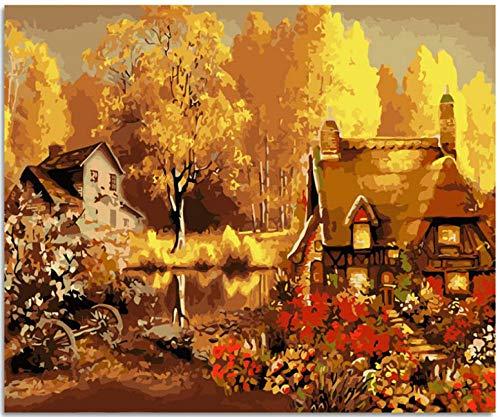 SZYUY digitaal canvas olieverfschilderij geschenk voor volwassenen schilderen op nummers, kits Home Decor - herfstachtig gouden huisje 40 cm x 50 cm