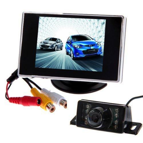 BW® 8,9 cm Écran LCD TFT vue arrière de voiture Miroir Moniteur + LED voiture arrière vue arrière Recul étanche appareil photo Kits Vidéo couleur