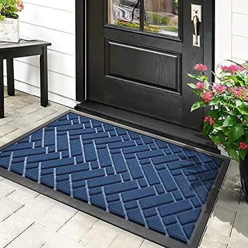 Indoor Outdoor Doormat,17'x29' Heavy Duty Durable Rubber Anti-Slip Door Mats,Low-Profile Front Back Floor Mats Rugs for Entryway,Home Entrance,Patio,High Traffic Area(Navy Blue)