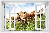 Wallario selbstklebendes Poster - Kühe im Sommer auf der