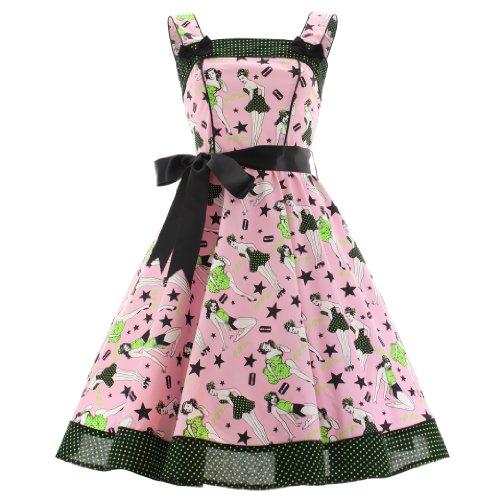 Hell Bunny Dixie Dress - Vestido rosa S