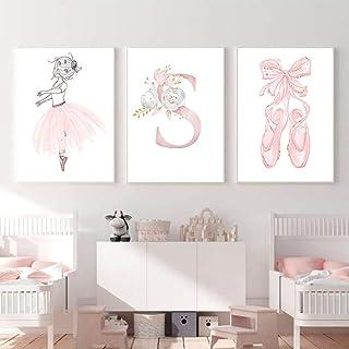 Lot de 3 affiche poster rose fille 30x40 tableau chambre enfant fille princesse decoration murale cadeau pour bebe sans Cadre