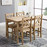 mcc-direct Classic Solid Wooden Dining Table and 4 Chairs Set Kitchen Home (natural)