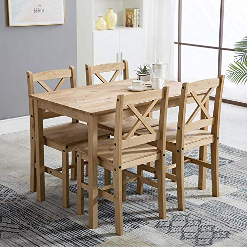 mcc-direct Classic Solid Wooden Dining Table and 4 Chairs Set Kitchen Home [Grey/White/natural] (Natural)
