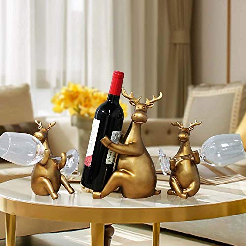 CAIJINJIN estante del vino (Oro restaurante estante del vino del refrigerador de vino Decoración Adornos Decorada En Estilo Escandinavo hogar creativo decoraciones de ciervos 39.5 * 9 * 28cm delicado