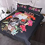 LHOUSSAINE Bedding Sets - fanaijia Skulls Duvet Cover Sets 3D Sugar Skull Bedding Set for King with Pillowcase au Queen Bed bedline Bedroom Home Textile - by 1 PCs