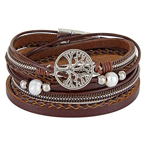 StarAppeal Wickelarmband mit Perlen, Ketten, Flechtelement und Lebensbaum Anhänger, Magnetverschluss Silber, Damen Armband (Braun)