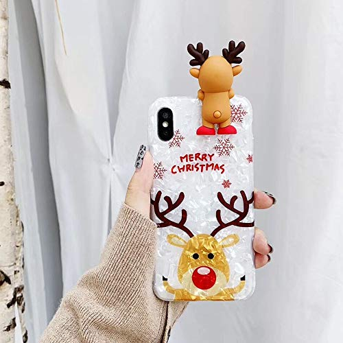 Topwin Christmas Case for iPhone Xs Max,Glitter Soft TPU Conch Shell Pattern 3D Cute Cartoon Animal Floral Snowman Bear Santa/Elk Pattern Cute Flexible Gift Case for Apple iPhone Xs Max (Reindeer)