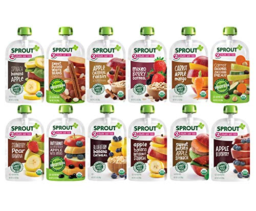 Sprout Organic Stage 2 Baby Food Pouches, 12 Flavor Variety Sampler, 12 Pouches  (Packaging May Vary)