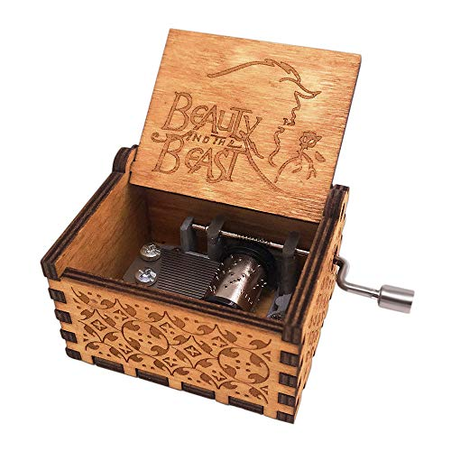shirylzee Caja de música de madera pura a mano, clásica caja de música de La Bella y la Bestia, caja de música creativa, artesanía de madera, regalos decorativos para niños