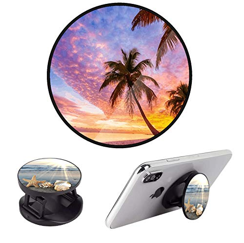 (2 Pack) Cell Phone Holder Expanding Grip Stand Foldable Finger Kickstand for Smartphone and Tablets - Sun Sea Beach Starfish Sunset Palm Tree