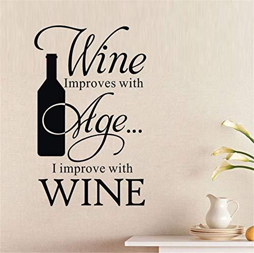 jiushivr Aufkleber Küche Wein verbessert Sich mit Alter, das ich Winebottle-Zitat-Wand-Aufkleber-Stab-Küchen-Ausgangsdekor-Wand-Fliesen-Aufkleber verbessere 128x81cm