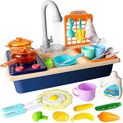 Niños Cocina Fregadero Juguete,Utensilios Simulación Cocina,Sin Olor Sin Rebabas Duradero Fácil Montar,Guíe Hijos Desarrollar Hábito Organizarse,Azul