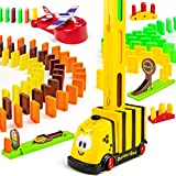 BananMelonBM Domino Train, 209 PCS Domino Rally Electric Train Set with 3 Add-on Machine Blocks Toys Educational Domino Building Blocks STEM Toys for Kids 3-8 Year Old Boys and Girls