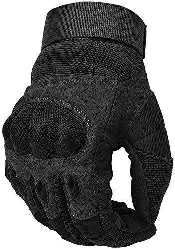 COTOP Unisex– Erwachsene, Touch Screen Hard Knuckle Handschuhe Motorrad ATV Reiten Full Fing (L), schwarz, L