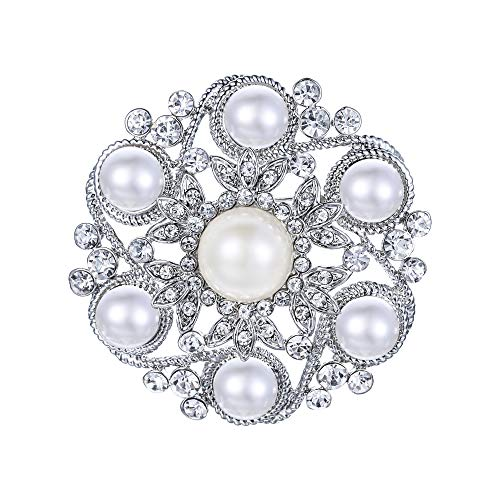 EVER FAITH Women's Wedding Jewelry Austrian Crystal Simulated Pearl Bridal Leaf Flower Brooch Clear Silver-Tone