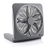 O2COOL Treva NEW 10' Battery Operated Fan with Adapter, Graphite