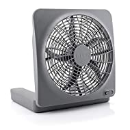 O2COOL Treva 10-Inch Portable Desktop Air Circulation Battery Fan-2 Speed-Compact Folding & Tilt Design-with AC Adapter