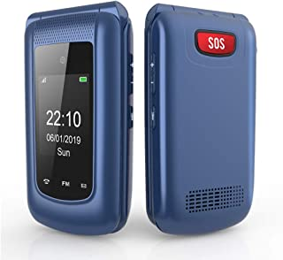 Unlocked 3G Seniors Flip Cell Phone, Uleway Dual SIM Card Big Button Easy-to-Use Mobile Phone for Elderly (Blue)