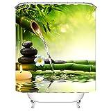 Ciujoy Bambusrohr Fließendes Wasser Duschvorhang 180x180cm, Anti-Schimmel, Anti-Bakteriell, Wasserdicht aus Polyester mit 12 Duschvorhangringen 3D Digitaldruck, Duschvorhänge für Dusche in Badezimmer