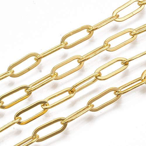 Cadena de cable dorado de Cheriswelry, cadena de cobre amarillo ovalado, con clip de papel, cadena alargada para hacer collares y joyas