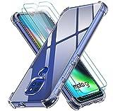ivoler Funda para Motorola Moto E7 Plus/Moto G9 Play/Moto G9 con 3 Unidades Cristal Templado, Carcasa Protectora Anti-Choque Transparente, Suave TPU Silicona Caso Delgada Anti-arañazos Case