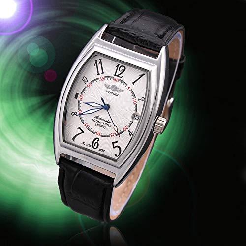 GSERA Armbanduhren Retro Rechteckige Automatische Mechanische Hohle Herrenuhr Mit Verstellbarem Lederarmband