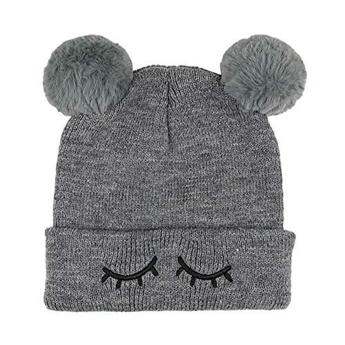 Bonnet Bébé, Mamum bébé enfants chapeau Longra Nouveau née Bébé Laine tricotée Chapeau un bonnet à pompons (gris)