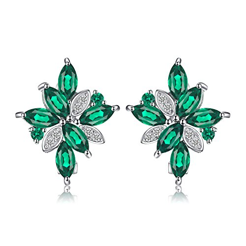 JewelryPalace Flower 2.5ct Green Nano Russian Simulated Emerald Hoop Earrings 925 Sterling Silver