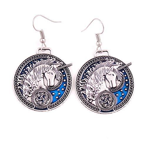 FAIRY ELVEN Unicorn Earrings with Blue enamel Medieval Celtic Unicorn with Stars earrings