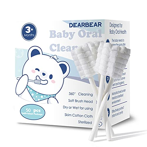 [50-Pack] Dear Bear Baby Oral Cleaner, Newborn Baby Tongue Cleaner with Paper Handle, Infant Toothbrush, Disposable Soft Gauze Baby Toothbrush for 0-36 Months Baby