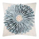 OiseauVoler Decorative Throw Pillow Case 3D Sunflowers Cushion Cover Handmade Canvas Pillowcase Home Sofa Car Bed Room Decor 18 x 18 Inch Blue