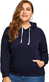 OHDREAM Womens Plus Size Sweatshirts and Hoodies Pullover Lined Fleece Long Sleeve Hooded Sweatshirt with Hood