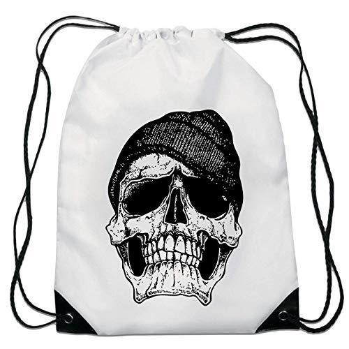 Vintage Hipster Skull Art Dark Soul and Death Sac de Cordon