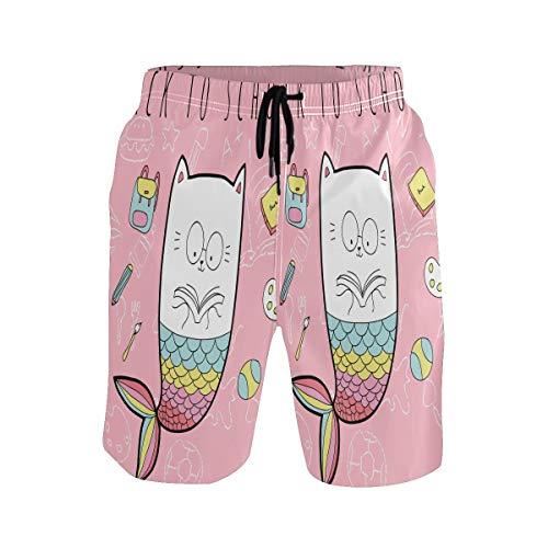 Sawhonn Lindo Arcoiris Gato Sirena Bañador para Hombre Pantalones Cortos Bañadores Shorts para Hombres Natacion Piscina Surf Playa
