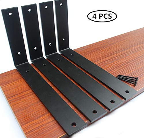 4 Pack - L10' x H 6' x W 1.5', 5mm Thick Rustic Shelf Bracket, Iron Shelf Brackets, Metal Shelf Bracket, Industrial Shelf Bracket, Modern Shelf Bracket, Decorative Shelving, Shelf Supports with Screws