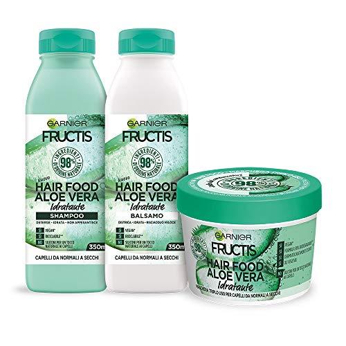 Garnier Shampoo + Balsamo + Maschera Fructis Hair Food, Kit con Shampoo, Balsamo e Maschera alla Aloe Vera, per Capelli Normali, Luminosi, 98% di Ingr