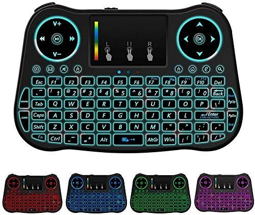 Hintergrundbeleuchtung drahtlose Tastatur - tragbare drahtlose 2,4-GHz Mini Tastatur mit Touchpad Maus und wiederaufladbarem Akku für Google Smart TV Android-Box XBMC Windows-Laptop Raspberry PI PS3