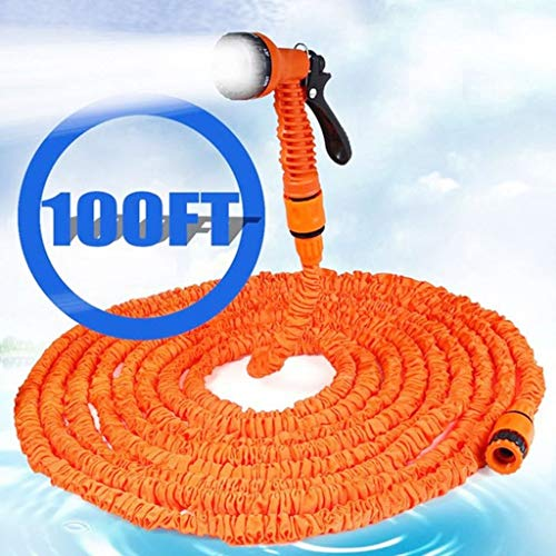 25-200FT Hot Expandable Magic Flexibele Garden Waterslangen, For Auto Tuinslang Plastic Slangen Tuinset Om Watering Met Spuitpistool Garden Haspels (Color : Orange, Size : 175ft)