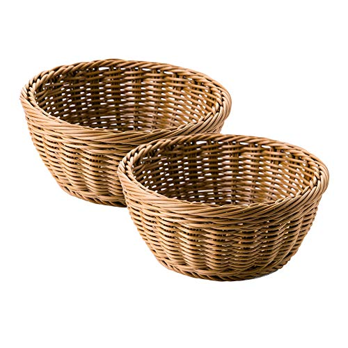 9.5' Poly-Wicker Bread Basket, Woven Polypropylene Tabletop Food Fruit Vegetables Serving Basket Set of 2, Restaurant Serving, Storage Basket Honey Brown