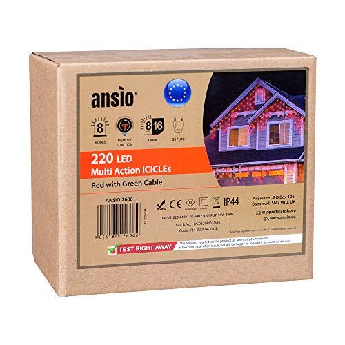 ANSIO 220 Barriera fotoelettrica LED Rossa Luci natalizie per interni ed esterni, Luce bianca calda con 8 modalità luce/timer, Memoria, trasformatore incluso, Cavo verde lunghezza 7,5 m