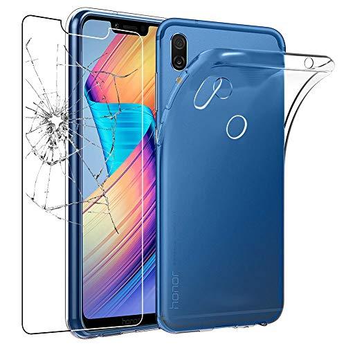 ebestStar - kompatibel mit Huawei Honor Play Hülle Handyhülle [Ultra Dünn], Durchsichtige Klar Flex Silikon Schutzhülle, Transparent + Panzerglas Schutzfolie [Phone: 157.9 x 74.3 x 7.5mm, 5.15'']