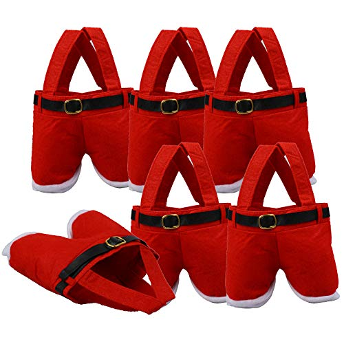 Ioffersuper Basket Party Gift Bags with Handles Santa Claus Pants Design Novelty Christmas Candy Tote Storage Bags Box for Xmas Party Supplies Home Table Decorations,6 Pack