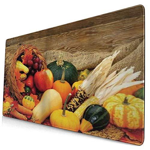 HUAYEXI Alfombrilla Gaming,Coseche Alimentos Relacionados con el Día de Acción de Gracias esparcidos sobre una Mesa de Madera Verduras Frutas,con Base de Goma Antideslizante,750×400×3mm
