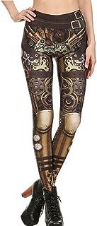 TUDUZ, Pantalones Deportivos Mujer Pitillo Elásticos Góticos Leggings Retro Steampunk Comic Cosplay Imprimir