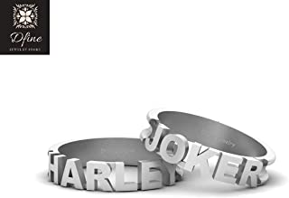 Joker and Harley Quinn Mad Love Couple Band Set Solid 14k White Gold Joker and Harley Bands