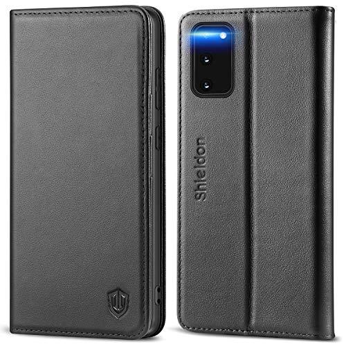 SHIELDON Galaxy S20 Hülle, Stoßfeste Handyhülle [100prozent Rindsleder] [RFID Schützt], TPU Schutzhülle [Kartenfach] [Magnetverschluss] [Stand], Lederhülle Kompatibel für Samsung Galaxy S20 5G (6,2) Schwarz