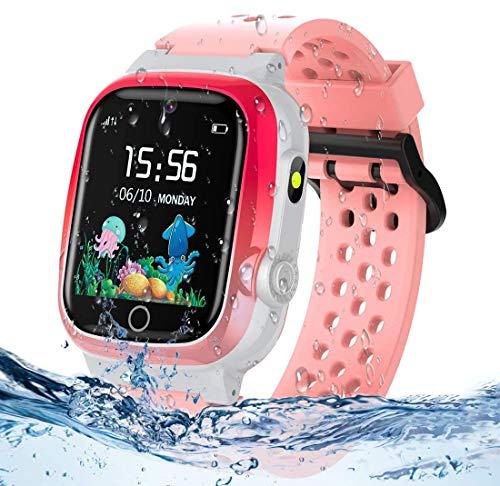 themoemoe Kids GPS Watch, Kids Smartwatch with GPS Tracker Waterproof Phone Smartwatch 1.44 SOS Touch Screen Flashlight Camera Math Game Chat (Pink)