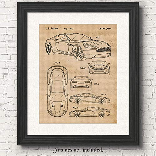Vintage Aston Martin DB9 Patent Poster Prints, Set of 1 (11x14) Unframed Photo, Great Wall Art Decor Gifts Under 15 for Home, Office, Man Cave, College Student, Teacher, England Cars & Coffee Fan
